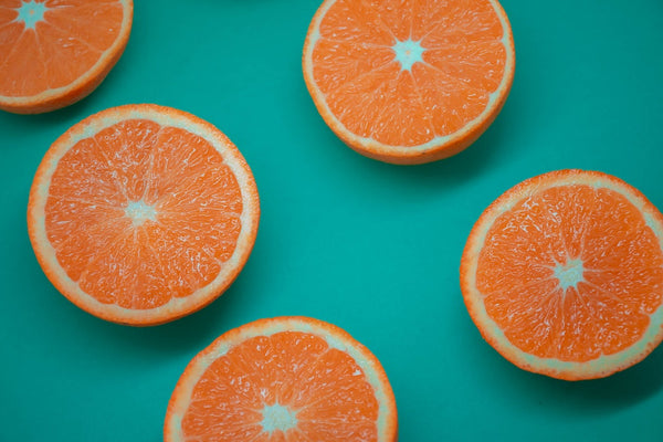 Oranges blue background