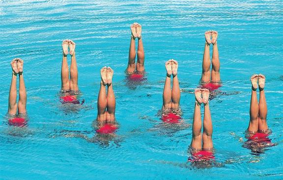 Synchronized Swimmers Blue and Red
