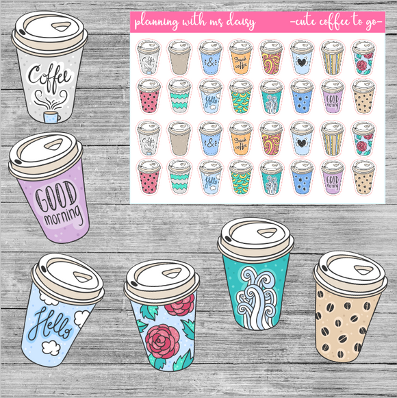 Cute Coffee To Go Planner Stickers
