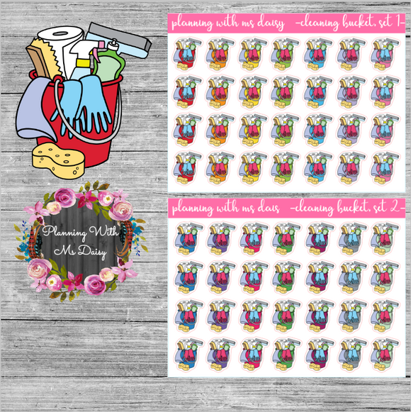 Cleaning Bucket Planner Stickers