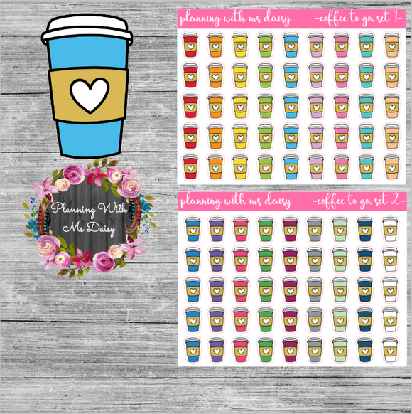 Coffee To Go Planner Stickers