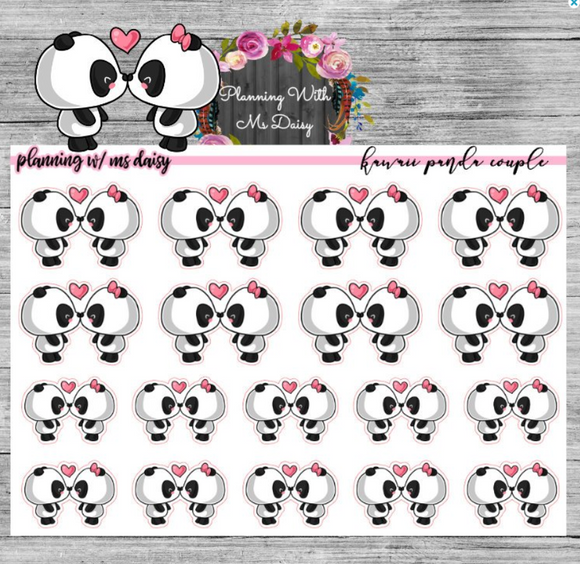 Kawaii Panda Couple Planner Stickers