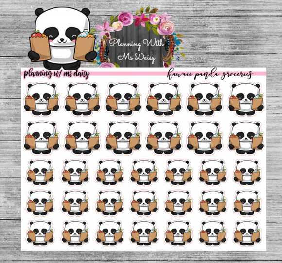 Kawaii Panda Groceries Planner Stickers