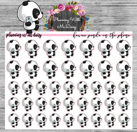 Kawaii Panda on the Phone Planner Stickers