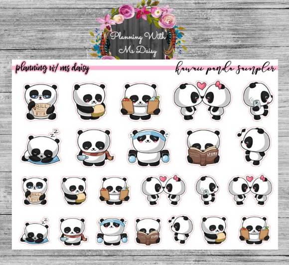 Kawaii Panda Sampler Planner Stickers