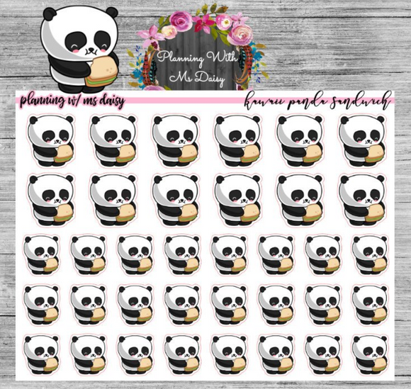 Kawaii Panda Sandwich Planner Stickers