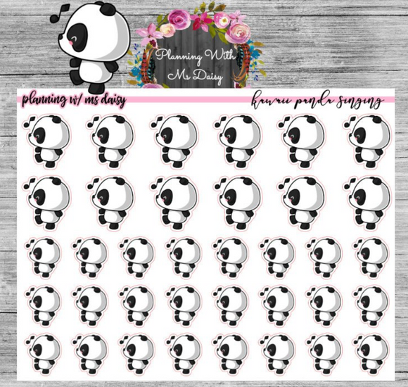 Kawaii Panda Singing Planner Stickers