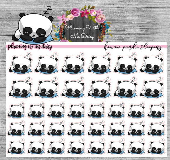 Kawaii Panda Sleeping Planner Stickers