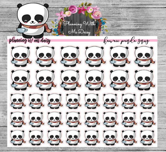 Kawaii Panda Snug Bills Planner Stickers