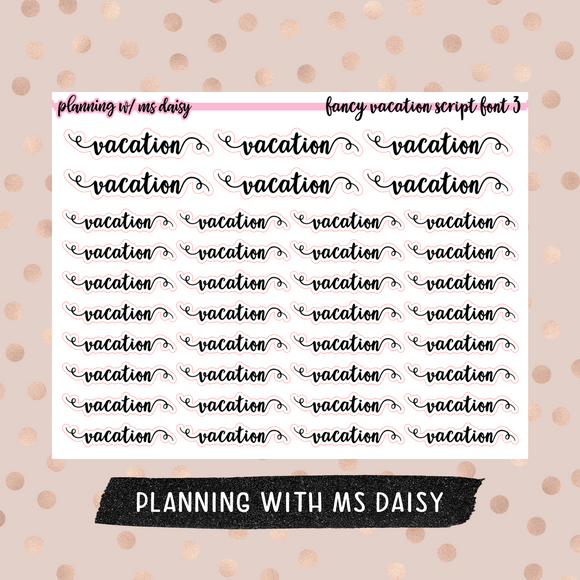 Fancy Vacation Stickers - Font 3