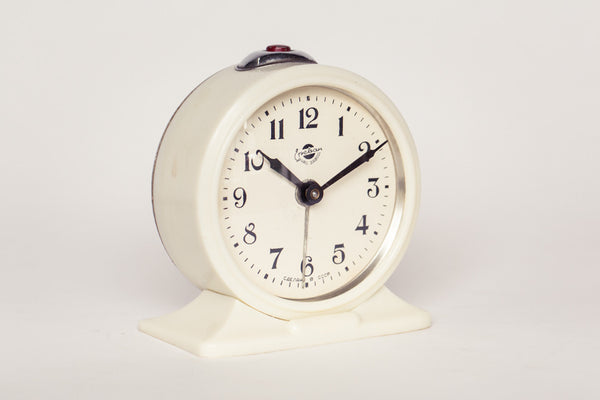 White Soviet Yerevan Mechanical Alarm Clock.