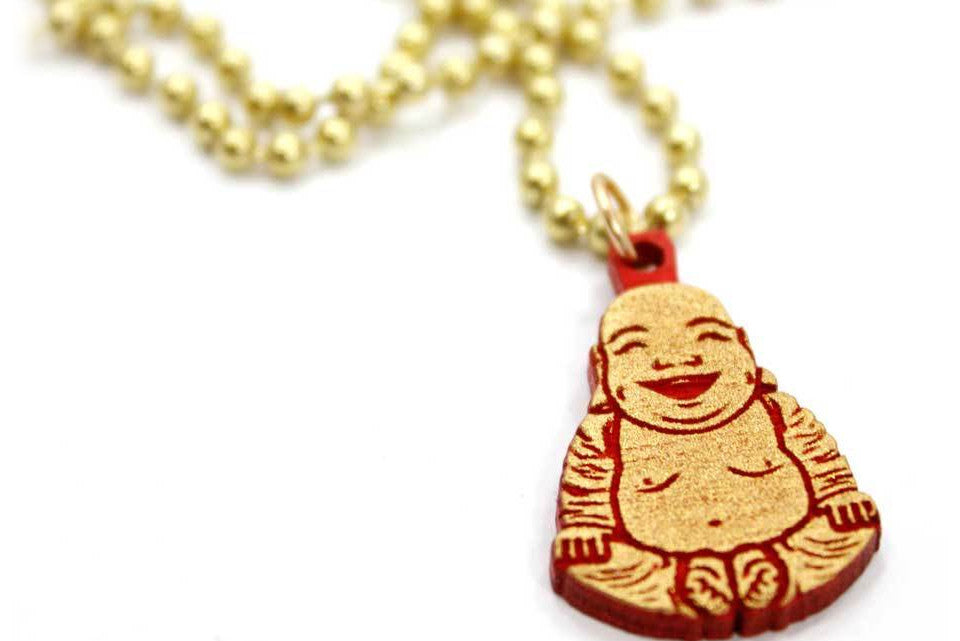 Micro Buddha Necklace (Gold Red)