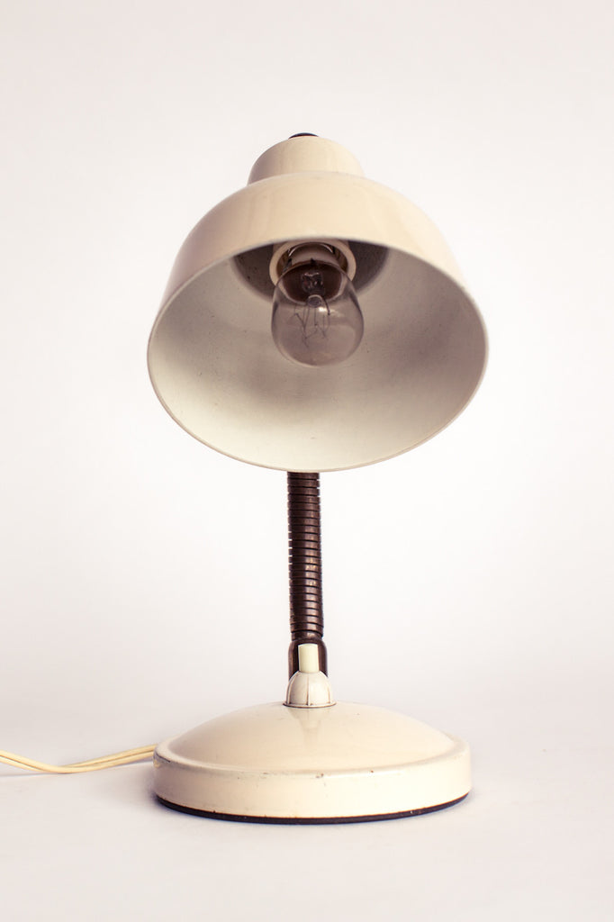 Cream desk lamp.