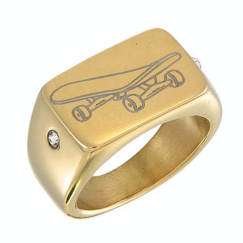 GOLD SKATEBOARD RING (GOLD)