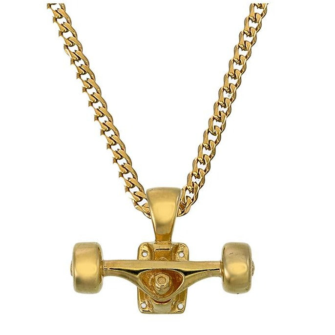 SKATEBOARD TRUCK w/ WHEELS PENDANT (GOLD)