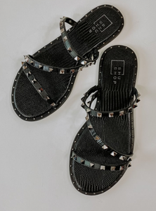 Belara Studded Slide Sandals - Black