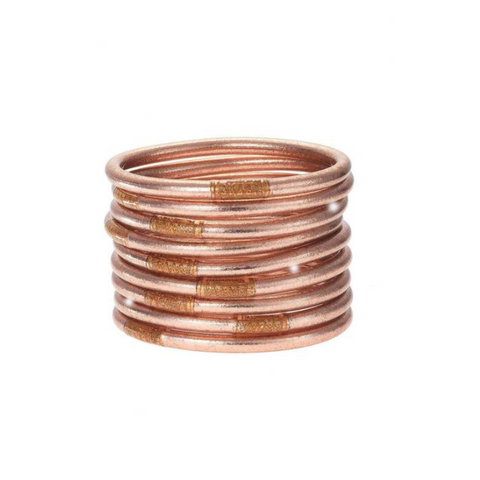 Rose Gold-All Weather Bangles-9 Piece Set - Tres Chic Boutique