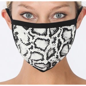 SNAKE PRINT WASHABLE POLY & COTTON MASK  Shell : 95% Polyester 5% Spandex  Lining : Cotton 100%  - Soft Cotton Lining  - Machine Wash  - Washable and Reusable  - Easy to breath  - Unisex  - One size to fit most - Tres Chic Boutique