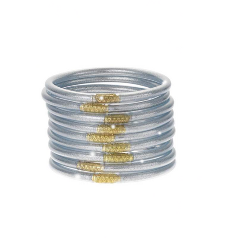 Silver-All Weather Bangles-9 Piece Set - Tres Chic Boutique