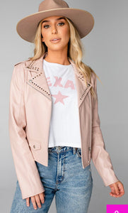 Trish Vegan Leather Studded Jacket Blush