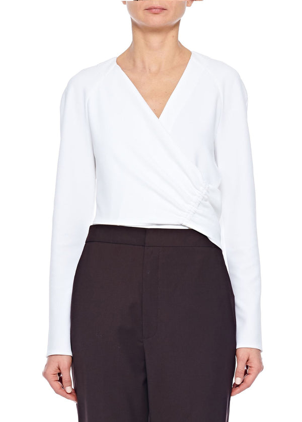 Tibi Crepe V-Neck Shirred Wrap Top
