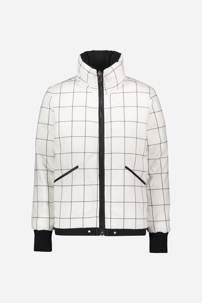 Front of jacket with windowpane side out on white background.