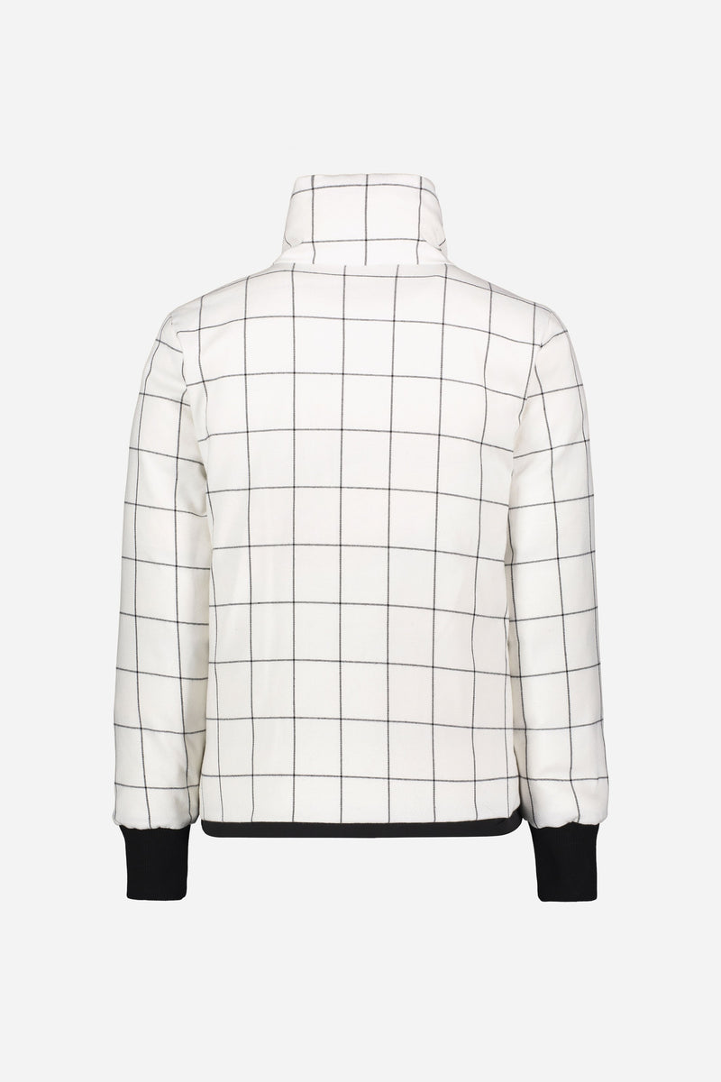 Back of jacket with windowpane side out on white background.