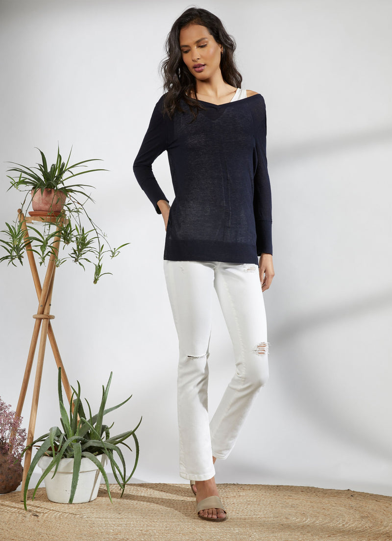Ecru Luxe V-Neck with Layer Tank