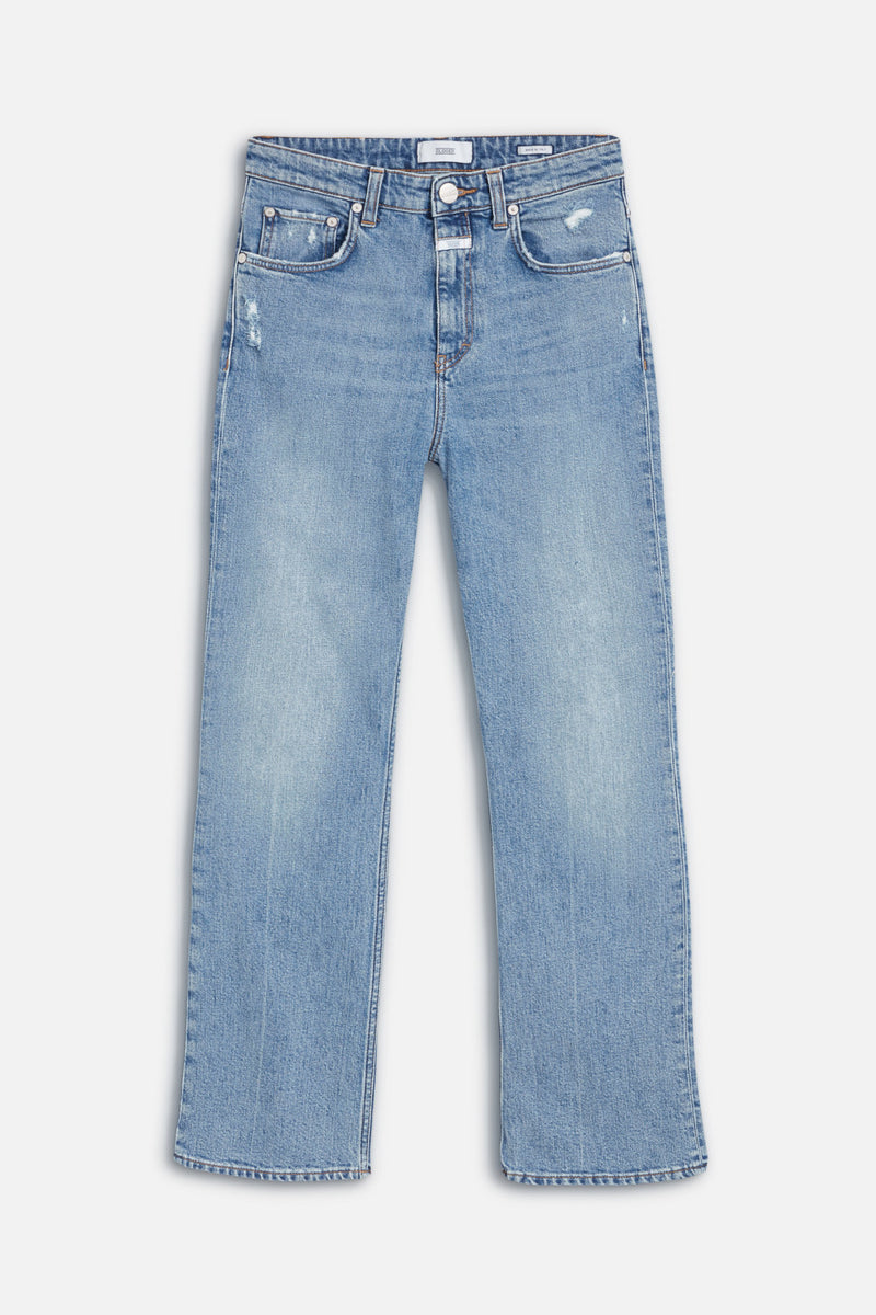Jeans laying flat on white background.