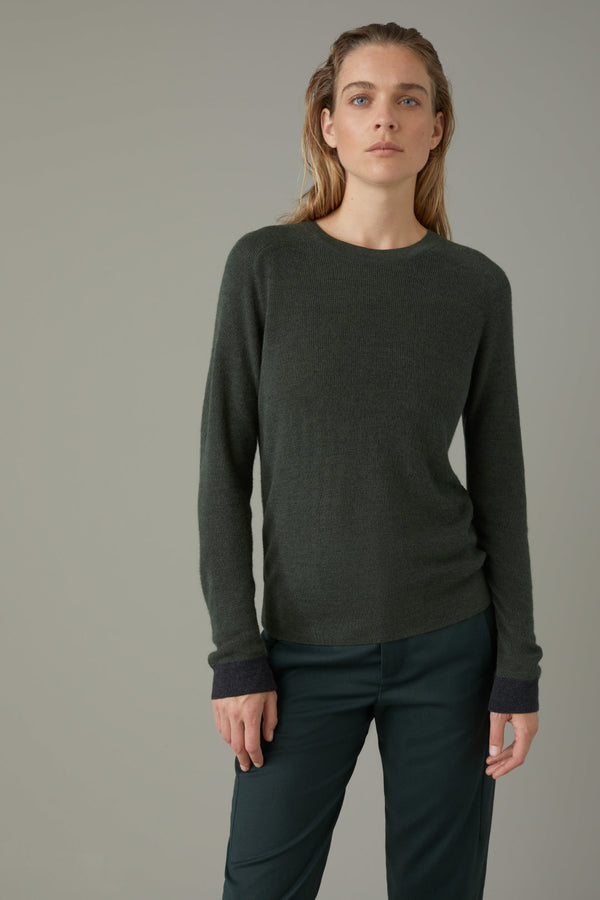 Front of sweater on model.