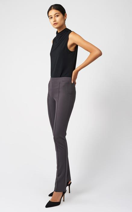 A side view of the Ponte straight leg pant in charcoal.