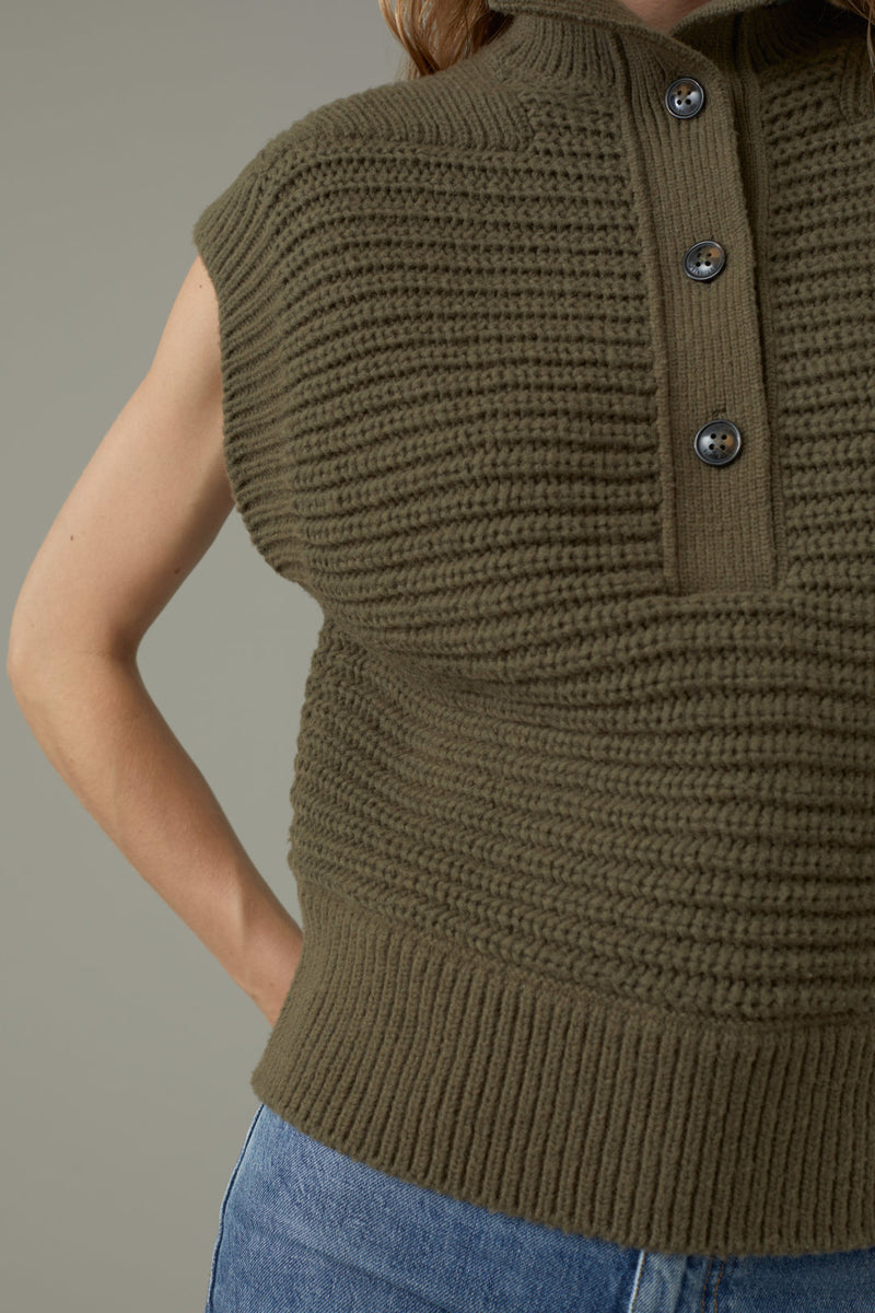 A close up of the rib knit structure. This sweater also features a stand up collar with a button down border.
