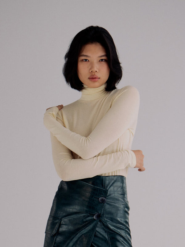 Front of turtleneck on model.
