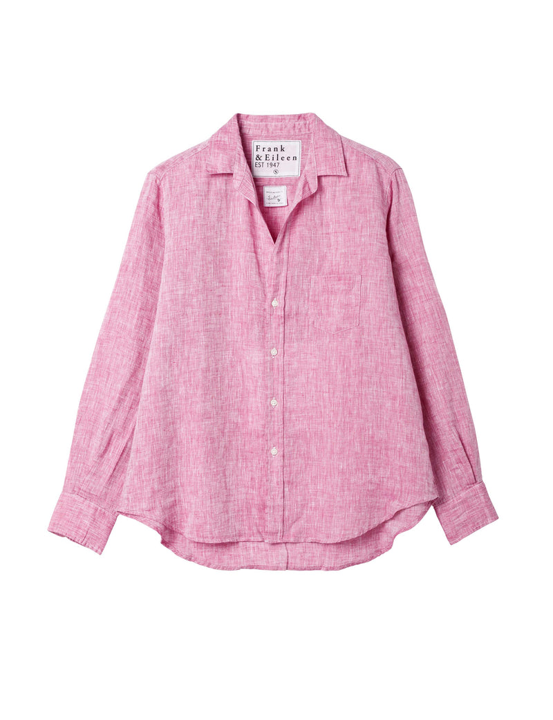 Flat lay of the linen eileen shirt in magenta.