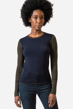 Ecru Colorblock Slim Sweater