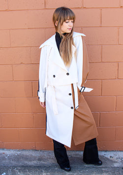 Tibi Color Block Detachable Trench