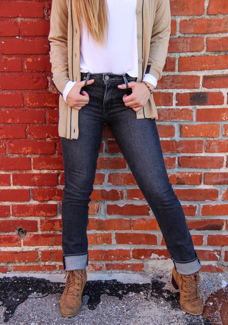 Front of jeans on model, cropped to show closer image of jeans.