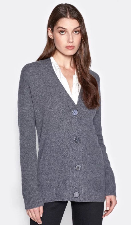 A view of the cardigan buttoned-up. This cardigan has four buttons.