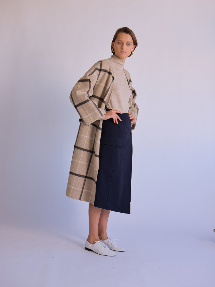 Front of coat without scarf on model.
