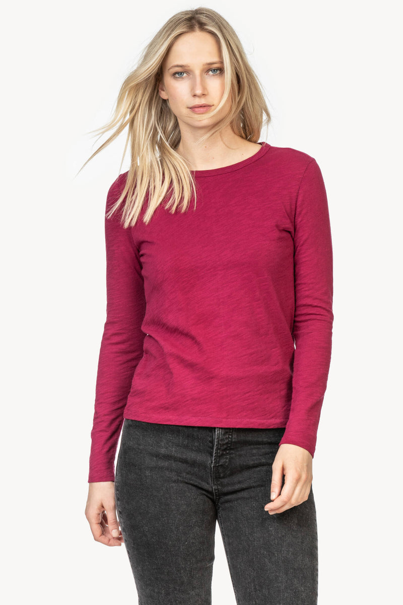 A front view of the Lilla P Long Sleeve Crew Neck tee in the color Currant.