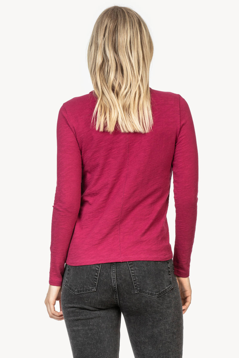 The back view of the Lilla P Long Sleeve Crew Neck in the color Currant.