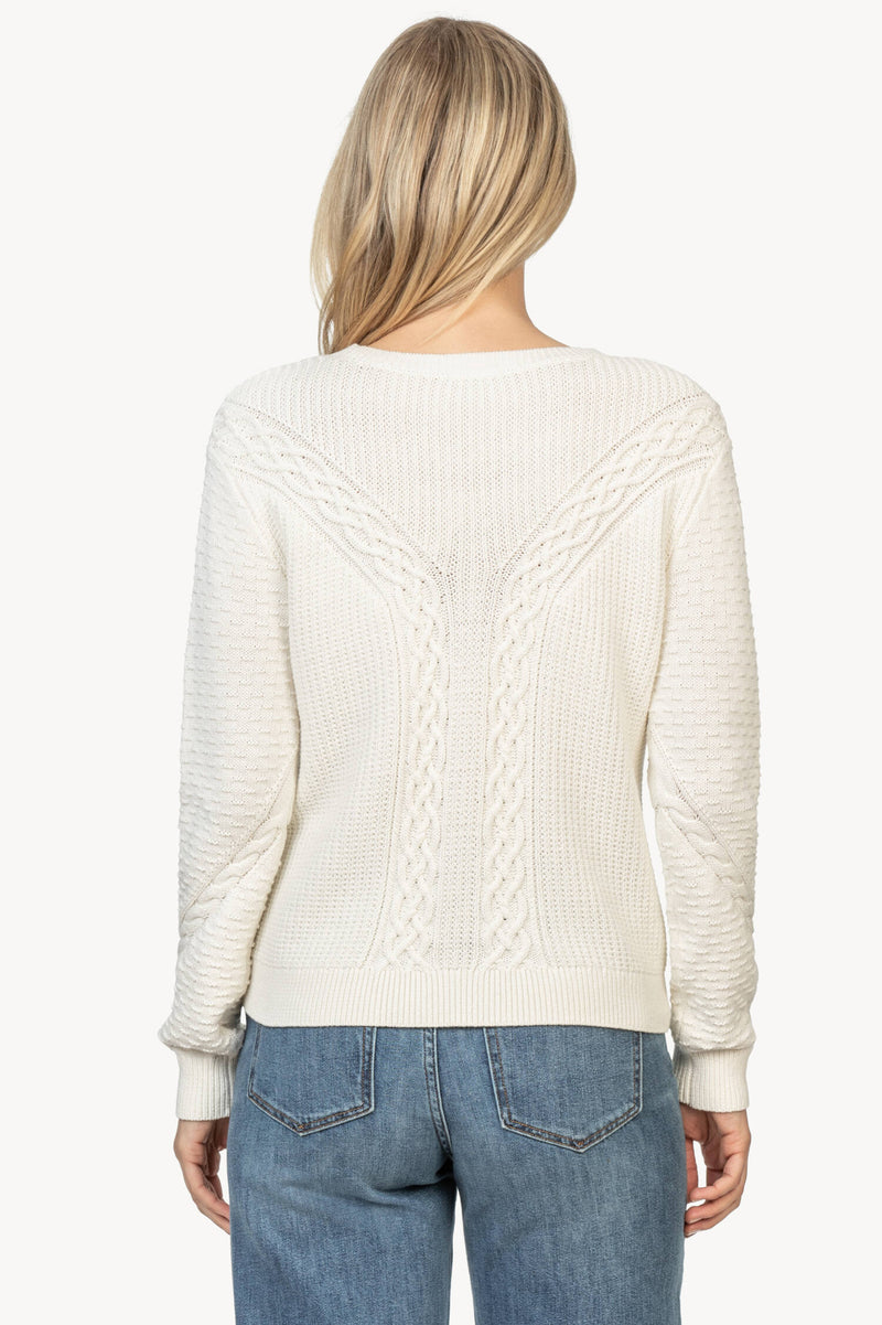 A back view of the Lilla P Mixed Stitch Sweater in Ivory.