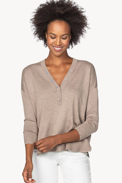 Lilla P Oversized Button Henley Sweater