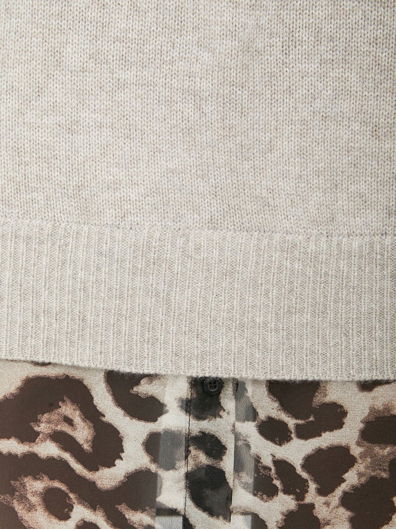 A close up of the wool/cashmere sweater against the contrasting cheetah print.