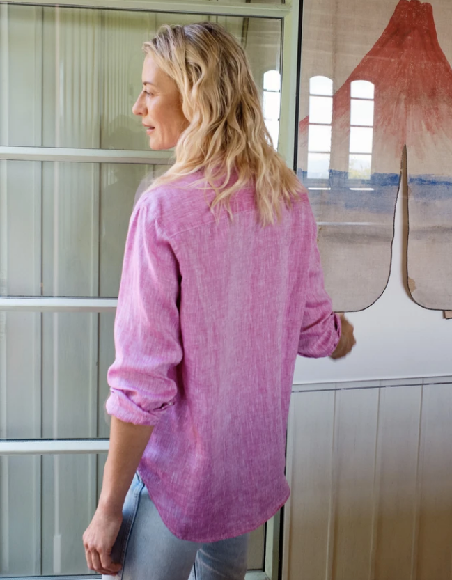 Back of the Linen Eileen shirt in magenta.