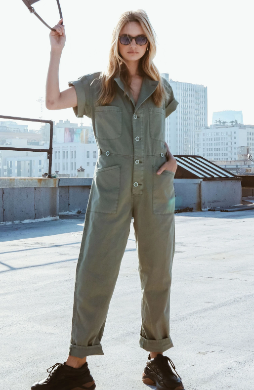 The grover jumpsuit on model.