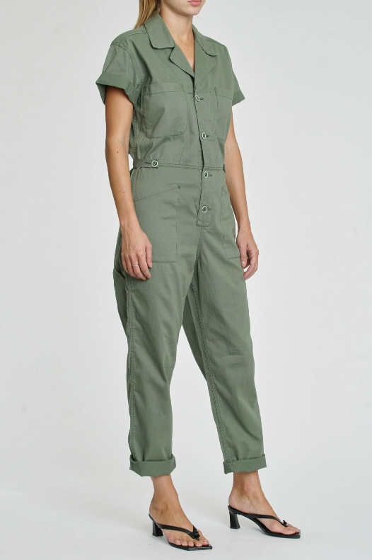 Side view of jumpsuit.