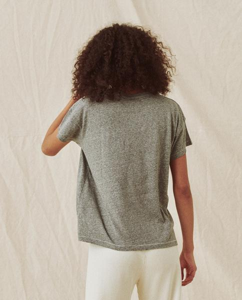 Back of tee on model.
