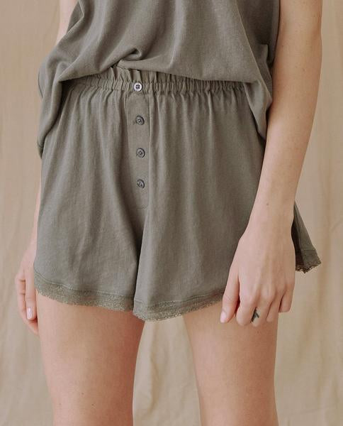 Front of shorts on model.