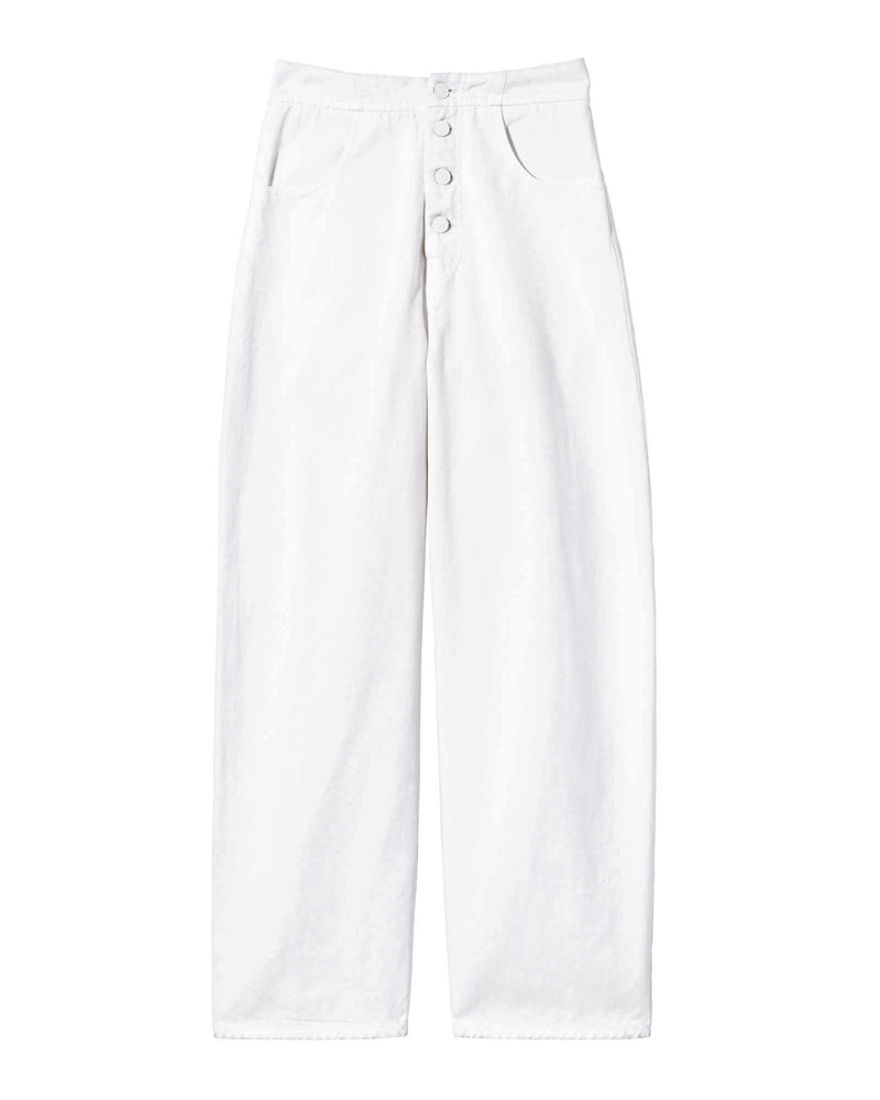Front of pants on a white background.